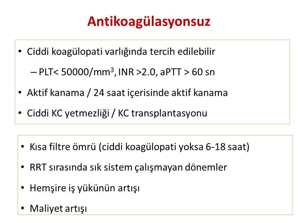 Antikoagülasyonsuz Ciddi koagülopati varlığında tercih edilebilir – PLT 2.0, aPTT > 60 sn Aktif kanama / 24 saat içerisinde aktif kanama Ciddi KC yetm