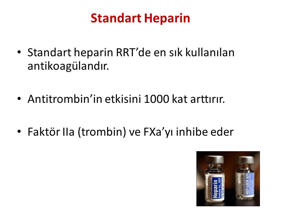 Standart Heparin Standart heparin RRT'de en sık kullanılan antikoagülandır. Antitrombin'in etkisini 1000 kat arttırır. Faktör IIa (trombin) ve FXa'yı