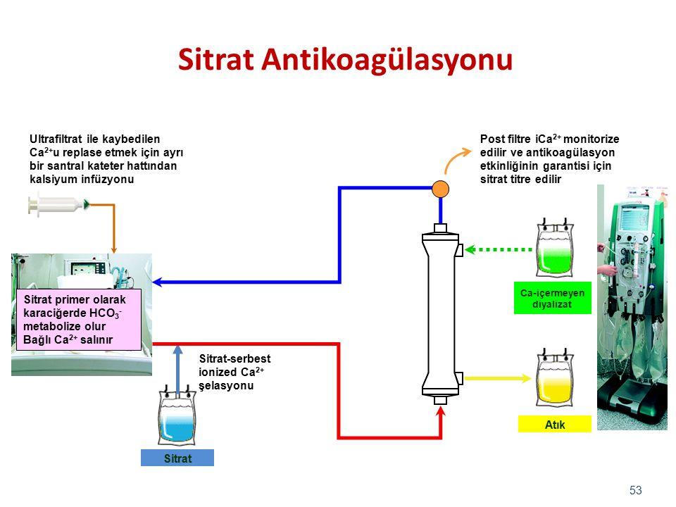 53 Ca-içermeyen diyalizat Sitrat-serbest ionized Ca 2+ şelasyonu Sitrat Atık Post filtre iCa 2+ monitorize edilir ve antikoagülasyon etkinliğinin gara