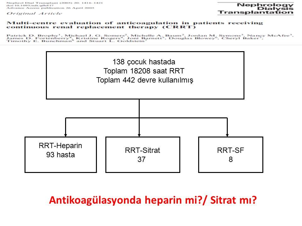 Antikoagülasyonda heparin mi?/ Sitrat mı? 138 çocuk hastada Toplam 18208 saat RRT Toplam 442 devre kullanılmış RRT-Heparin 93 hasta RRT-Sitrat 37 RRT-