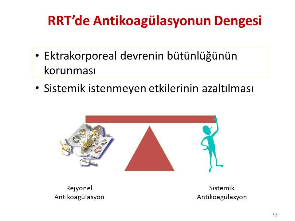 Ektrakorporeal devrenin bütünlüğünün korunması Sistemik istenmeyen etkilerinin azaltılması 73 Rejyonel Antikoagülasyon Sistemik Antikoagülasyon RRT'de