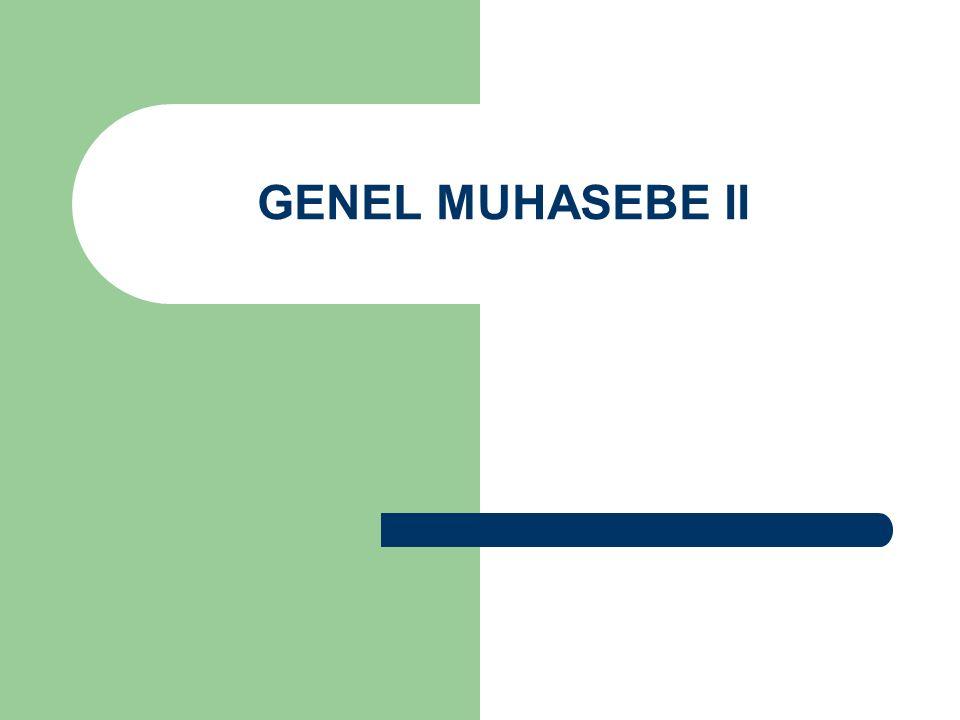 GENEL MUHASEBE II