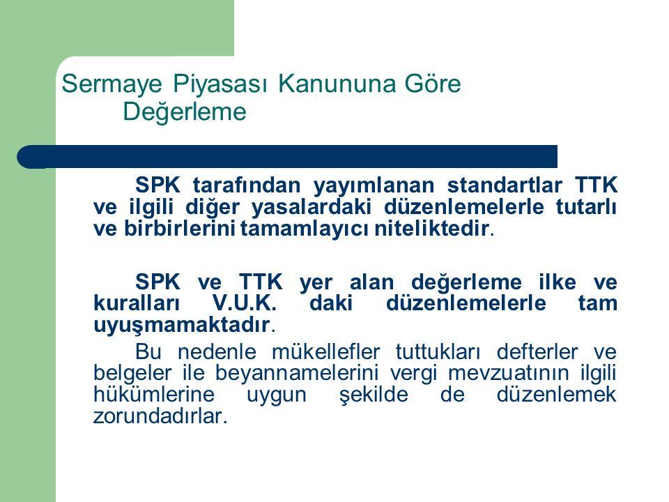Sermaye Piyasası Kanununa Göre Değerleme SPK tarafından yayımlanan standartlar TTK ve ilgili diğer yasalardaki düzenlemelerle tutarlı ve birbirlerini tamamlayıcı niteliktedir.