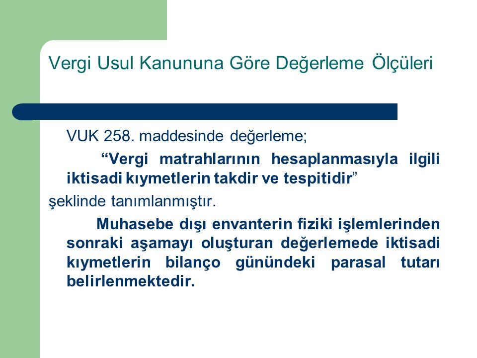 Vergi Usul Kanununa Göre Değerleme Ölçüleri VUK 258.