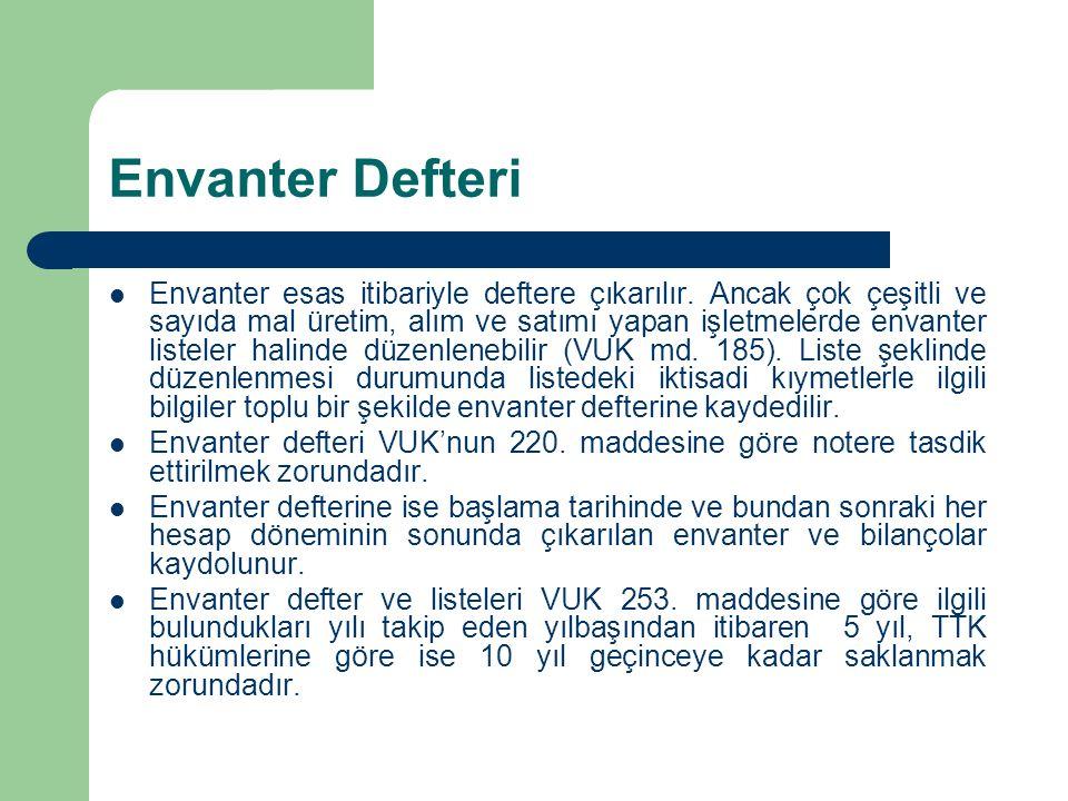 Envanter Defteri Envanter esas itibariyle deftere çıkarılır. Ancak çok çeşitli ve sayıda mal üretim, alım ve satımı yapan işletmelerde envanter listel