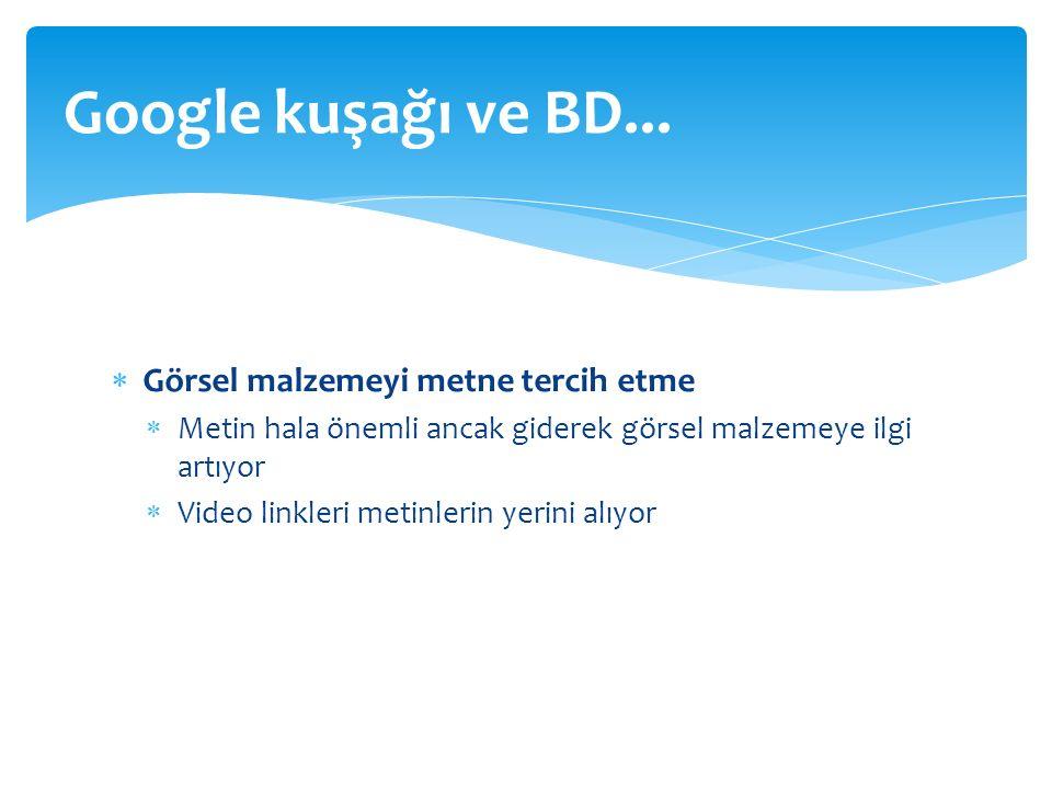  Görsel malzemeyi metne tercih etme  Metin hala önemli ancak giderek görsel malzemeye ilgi artıyor  Video linkleri metinlerin yerini alıyor Google kuşağı ve BD...