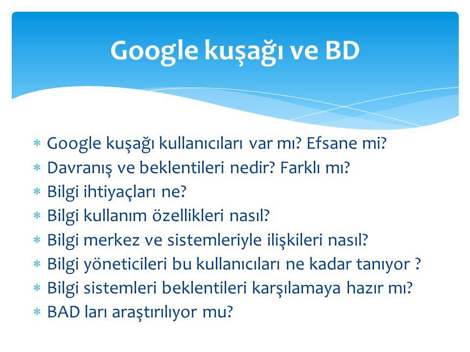  Google kuşağı kullanıcıları var mı? Efsane mi?  Davranış ve beklentileri nedir? Farklı mı?  Bilgi ihtiyaçları ne?  Bilgi kullanım özellikleri nas