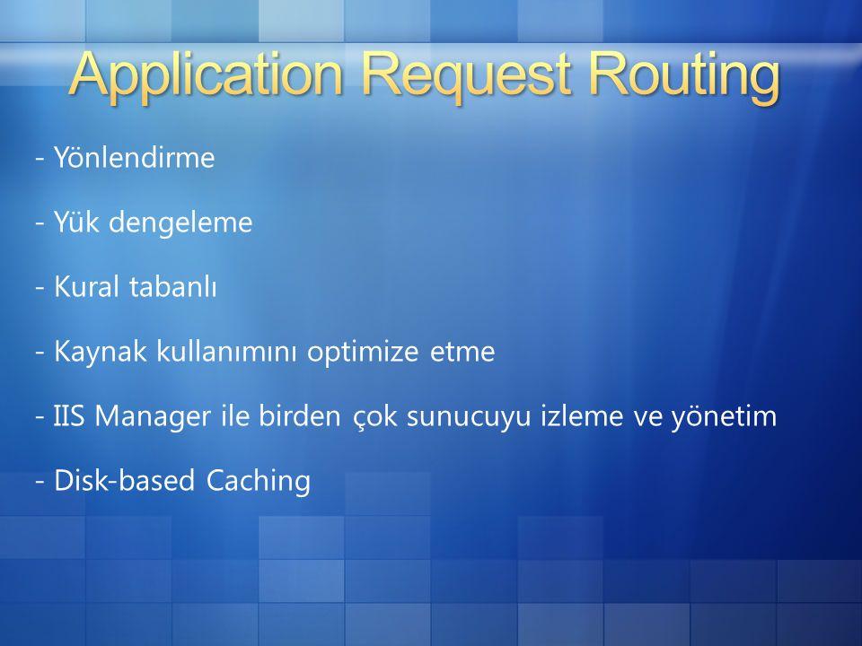 - Yönlendirme - Yük dengeleme - Kural tabanlı - Kaynak kullanımını optimize etme - IIS Manager ile birden çok sunucuyu izleme ve yönetim - Disk-based Caching