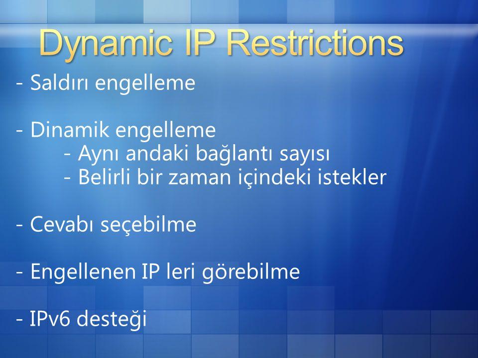 - Saldırı engelleme - Dinamik engelleme - Aynı andaki bağlantı sayısı - Belirli bir zaman içindeki istekler - Cevabı seçebilme - Engellenen IP leri görebilme - IPv6 desteği