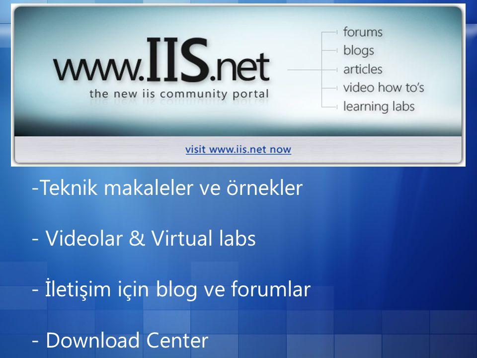 -Teknik makaleler ve örnekler - Videolar & Virtual labs - İletişim için blog ve forumlar - Download Center