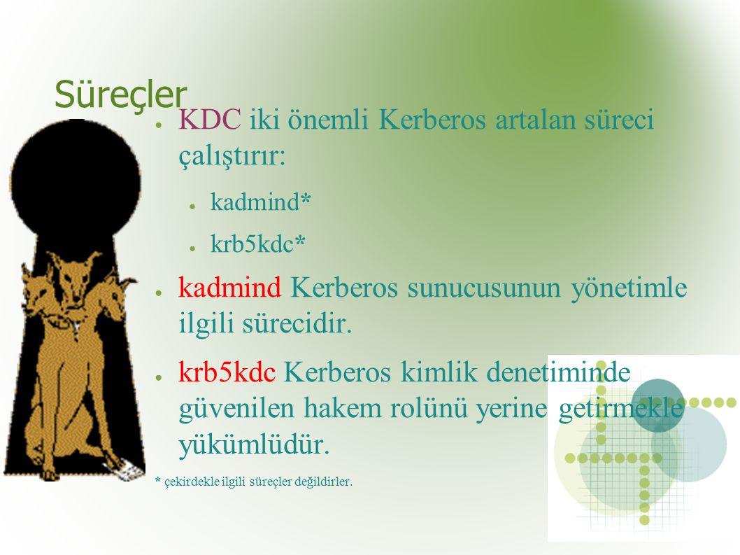 Süreçler ● KDC iki önemli Kerberos artalan süreci çalıştırır: ● kadmind* ● krb5kdc* ● kadmind Kerberos sunucusunun yönetimle ilgili sürecidir.