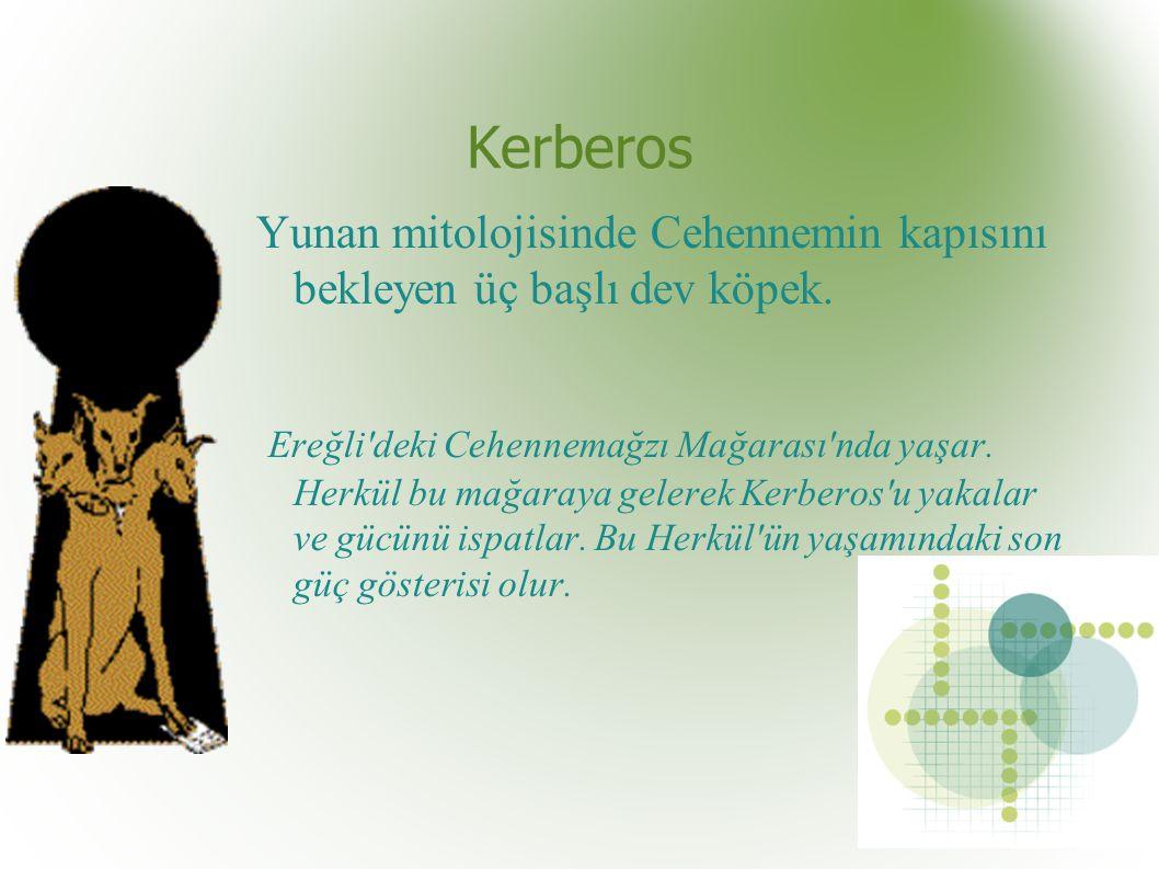 Kerberos Yunan mitolojisinde Cehennemin kapısını bekleyen üç başlı dev köpek.