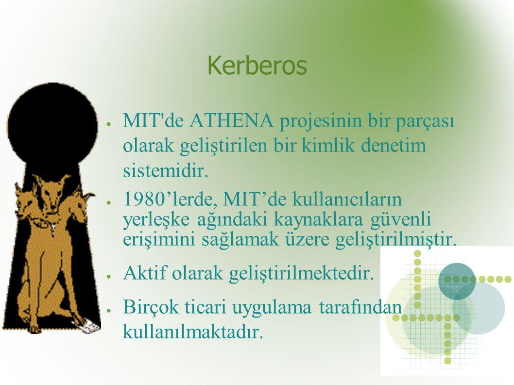 Kerberos ● MIT de ATHENA projesinin bir parçası olarak geliştirilen bir kimlik denetim sistemidir.