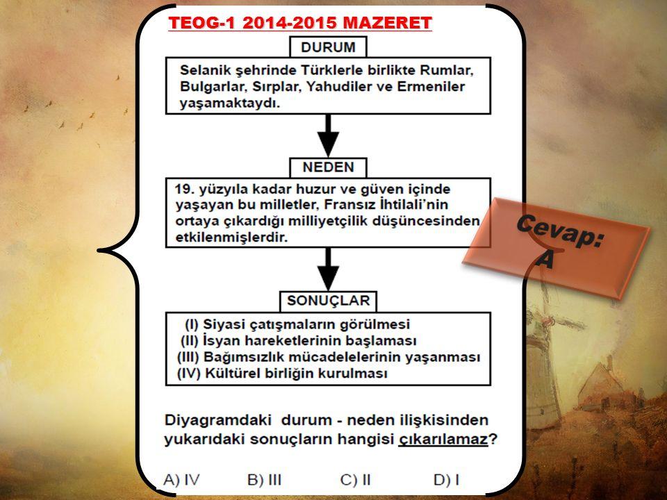 TEOG-1 2014-2015 Selanik şehrinde Türkler, Rumlar, Bulgarlar, Sırplar Yahudiler ve Ermeniler gibi milletler yaşamaktaydı. Selanik şehrindeki bu çok ul