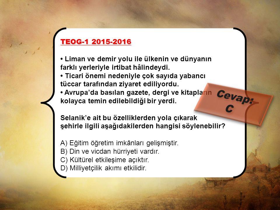 TEOG-1 2015-2016 Sosyal bilgiler öğretmeni, İnkılap Tarihi dersinde Atatürk'ün doğup büyüdüğü Selanik ve Manastır şehirlerini anlatırken bir öğrencini