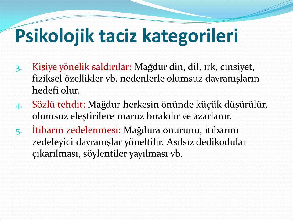 Psikolojik taciz kategorileri 3.