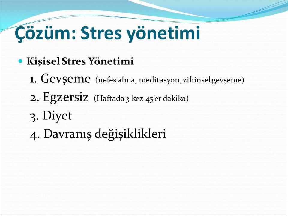 Çözüm: Stres yönetimi Kişisel Stres Yönetimi 1.