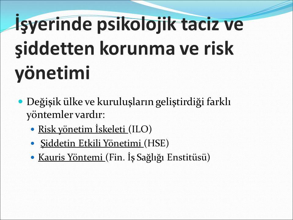 İşyerinde psikolojik taciz ve şiddetten korunma ve risk yönetimi Değişik ülke ve kuruluşların geliştirdiği farklı yöntemler vardır: Risk yönetim İskeleti (ILO) Şiddetin Etkili Yönetimi (HSE) Kauris Yöntemi (Fin.