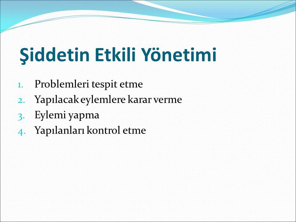 Şiddetin Etkili Yönetimi 1. Problemleri tespit etme 2.