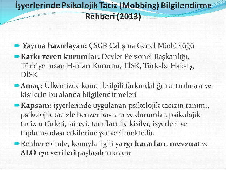 İşyerlerinde Psikolojik Taciz (Mobbing) Bilgilendirme Rehberi (2013)  Yayına hazırlayan: ÇSGB Çalışma Genel Müdürlüğü  Katkı veren kurumlar: Devlet Personel Başkanlığı, Türkiye İnsan Hakları Kurumu, TİSK, Türk-İş, Hak-İş, DİSK  Amaç: Ülkemizde konu ile ilgili farkındalığın artırılması ve kişilerin bu alanda bilgilendirmeleri  Kapsam: işyerlerinde uygulanan psikolojik tacizin tanımı, psikolojik tacizle benzer kavram ve durumlar, psikolojik tacizin türleri, süreci, tarafları ile kişiler, işyerleri ve topluma olası etkilerine yer verilmektedir.