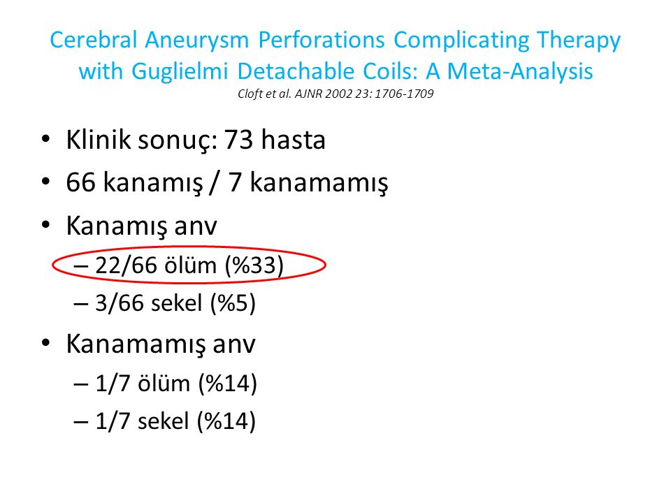 Klinik sonuç: 73 hasta 66 kanamış / 7 kanamamış Kanamış anv – 22/66 ölüm (%33) – 3/66 sekel (%5) Kanamamış anv – 1/7 ölüm (%14) – 1/7 sekel (%14) Cere