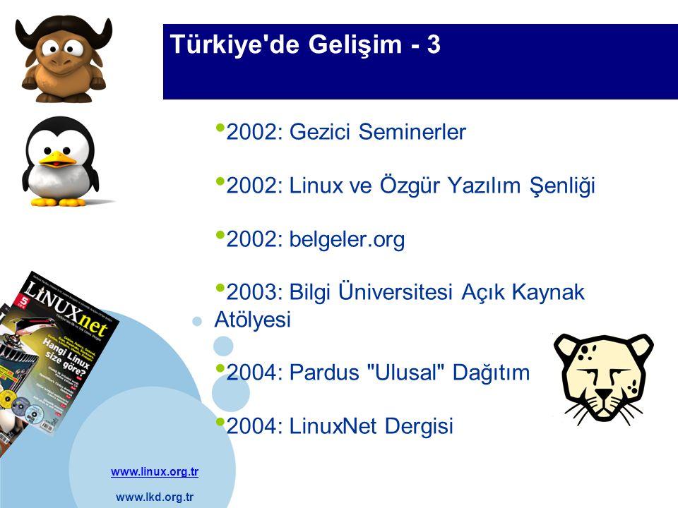 www.linux.org.tr www.lkd.org.tr Company LOGO Türkiye de Gelişim - 3 2002: Gezici Seminerler 2002: Linux ve Özgür Yazılım Şenliği 2002: belgeler.org 2003: Bilgi Üniversitesi Açık Kaynak Atölyesi 2004: Pardus Ulusal Dağıtım 2004: LinuxNet Dergisi
