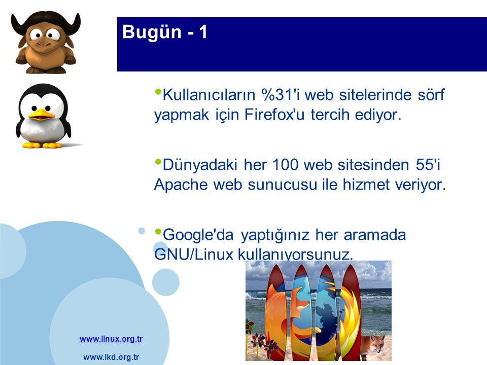 www.linux.org.tr www.lkd.org.tr Company LOGO Bugün - 1 Kullanıcıların %31'i web sitelerinde sörf yapmak için Firefox'u tercih ediyor. Dünyadaki her 10