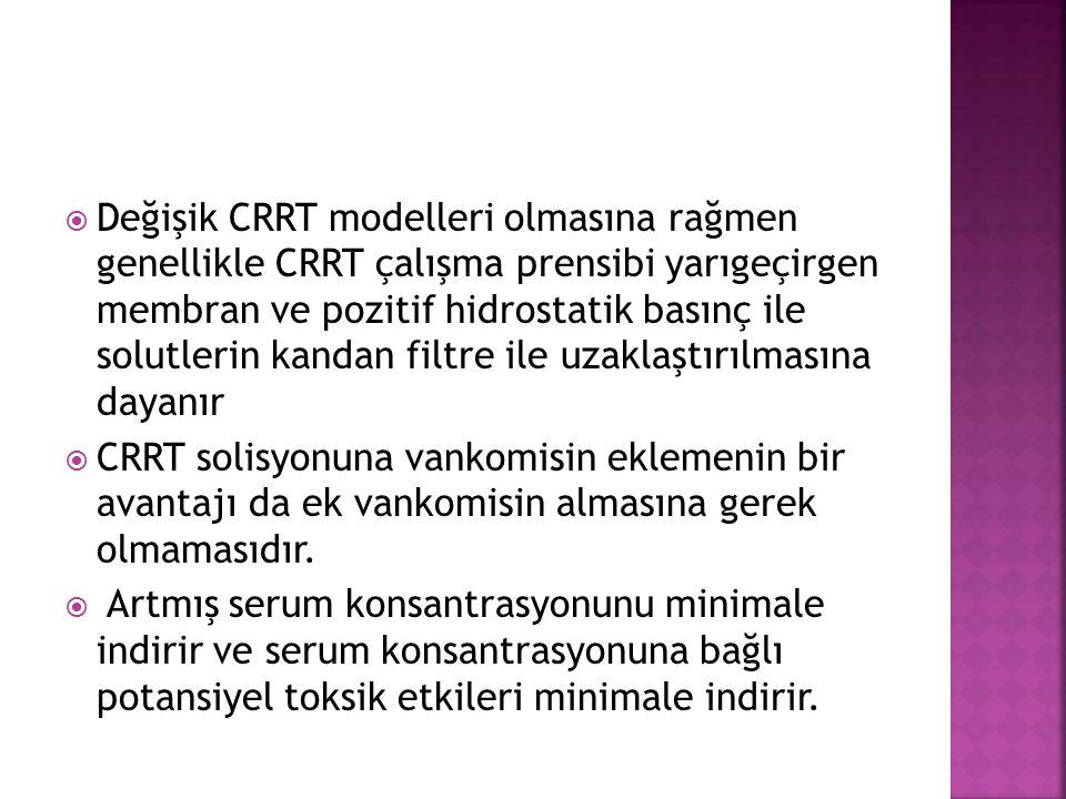  Değişik CRRT modelleri olmasına rağmen genellikle CRRT çalışma prensibi yarıgeçirgen membran ve pozitif hidrostatik basınç ile solutlerin kandan filtre ile uzaklaştırılmasına dayanır  CRRT solisyonuna vankomisin eklemenin bir avantajı da ek vankomisin almasına gerek olmamasıdır.
