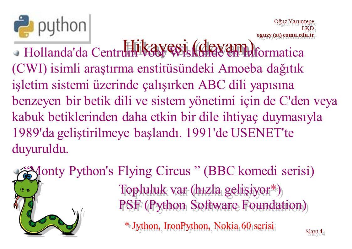 35 Oğuz Yarımtepe LKD oguzy (at) comu.edu.tr Kurulum localhost:~$ su - Password: [enter your root password] [root@localhost root]# wget http://python.org/ftp/python/2.3/rpms/redhat-9/python2.3-2.3- 5pydotorg.i386.rpm http://python.org/ftp/python/2.3/rpms/redhat-9/python2.3-2.3- 5pydotorg.i386.rpm [root@localhost root]# rpm -Uvh python2.3-2.3- 5pydotorg.i386.rpm