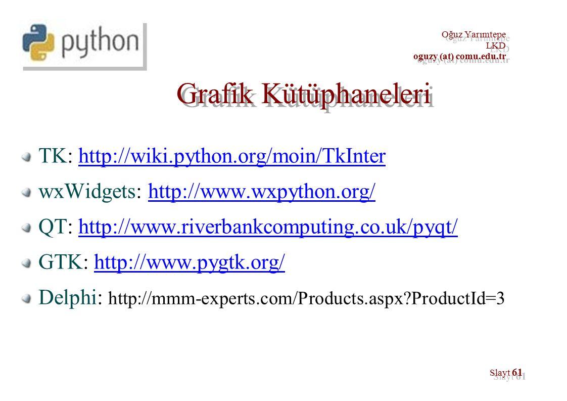 Oğuz Yarımtepe LKD oguzy (at) comu.edu.tr Oğuz Yarımtepe LKD oguzy (at) comu.edu.tr Slayt 61 Grafik Kütüphaneleri TK: http://wiki.python.org/moin/TkInterhttp://wiki.python.org/moin/TkInter wxWidgets: http://www.wxpython.org/http://www.wxpython.org/ QT: http://www.riverbankcomputing.co.uk/pyqt/http://www.riverbankcomputing.co.uk/pyqt/ GTK: http://www.pygtk.org/http://www.pygtk.org/ Delphi: http://mmm-experts.com/Products.aspx?ProductId=3