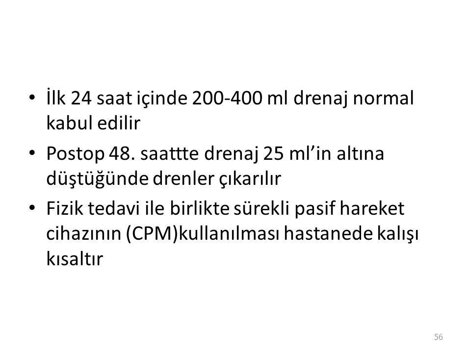 İlk 24 saat içinde 200-400 ml drenaj normal kabul edilir Postop 48.