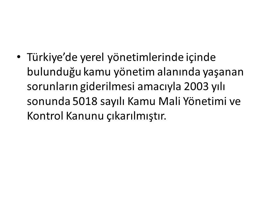 Türkiye'de yerel yönetimlerinde içinde bulunduğu kamu yönetim alanında yaşanan sorunların giderilmesi amacıyla 2003 yılı sonunda 5018 sayılı Kamu Mali Yönetimi ve Kontrol Kanunu çıkarılmıştır.