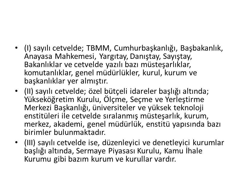 Sosyal Güvenlik Kurumu ve Türkiye İş Kurumu Genel Müdürlüğü, merkezi yönetim kapsamı dışındadır.