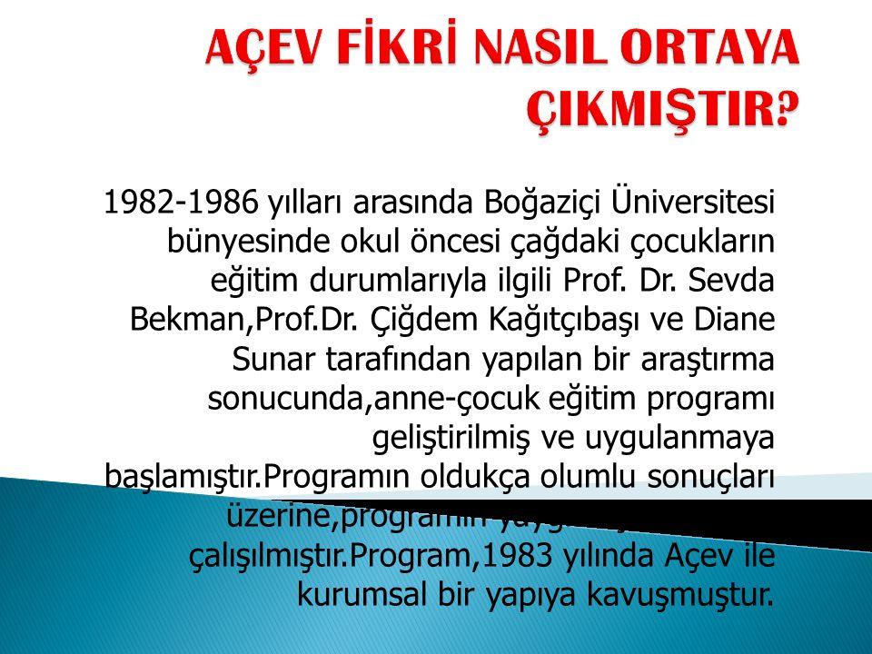 1982-1986 yılları arasında Boğaziçi Üniversitesi bünyesinde okul öncesi çağdaki çocukların eğitim durumlarıyla ilgili Prof.