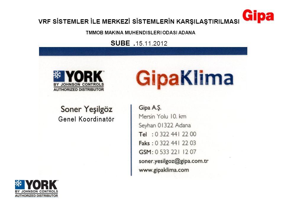 VRF SİSTEMLER İLE MERKEZİ SİSTEMLERİN KARŞILAŞTIRILMASI TMMOB MAKINA MUHENDISLERI ODASI ADANA SUBE. 15.11.2012