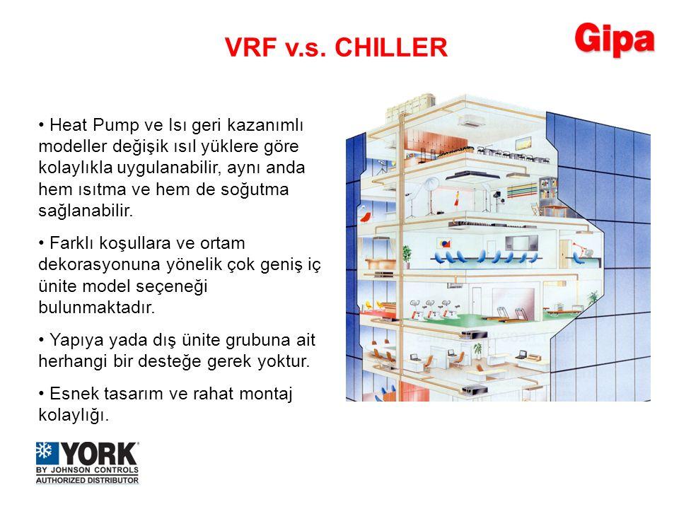 Heat Pump ve Isı geri kazanımlı modeller değişik ısıl yüklere göre kolaylıkla uygulanabilir, aynı anda hem ısıtma ve hem de soğutma sağlanabilir. Heat