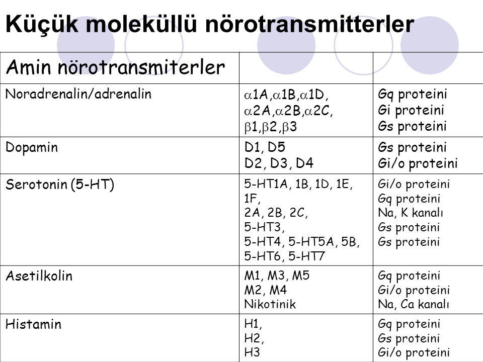 Küçük moleküllü nörotransmitterler Amin nörotransmiterler Noradrenalin/adrenalin  1A,  1B,  1D,  2A,  2B,  2C,  1,  2,  3 Gq proteini Gi prot