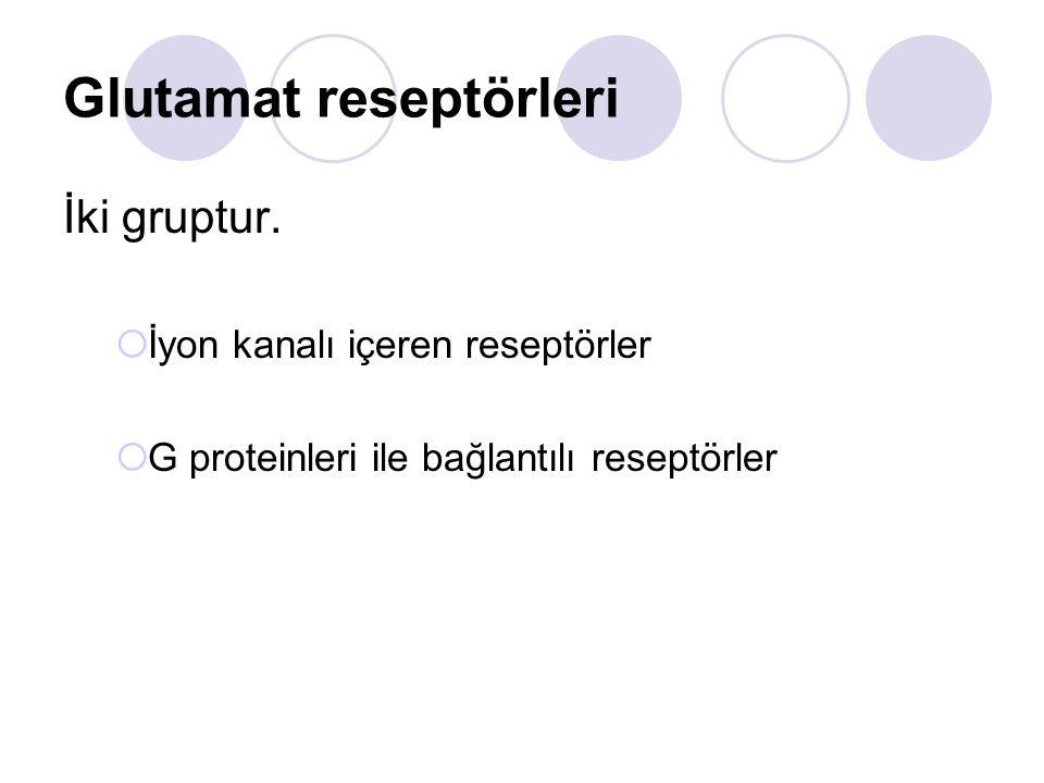 Glutamat reseptörleri İki gruptur.  İyon kanalı içeren reseptörler  G proteinleri ile bağlantılı reseptörler
