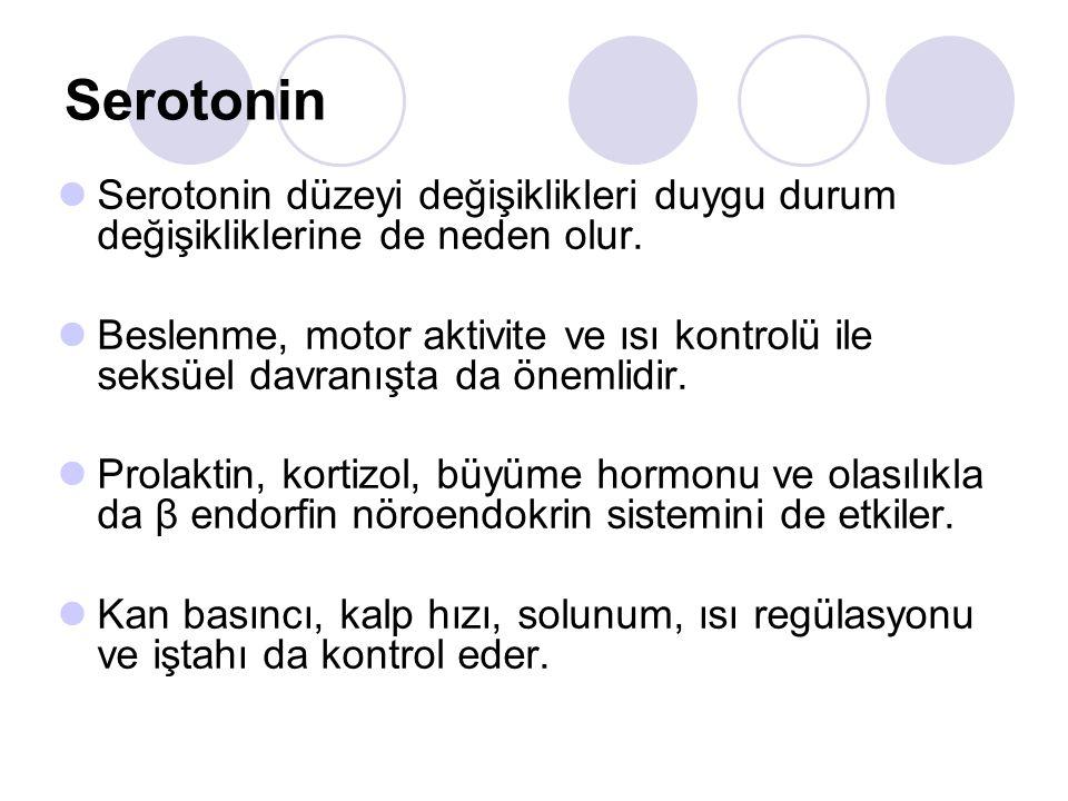 Serotonin Serotonin düzeyi değişiklikleri duygu durum değişikliklerine de neden olur. Beslenme, motor aktivite ve ısı kontrolü ile seksüel davranışta