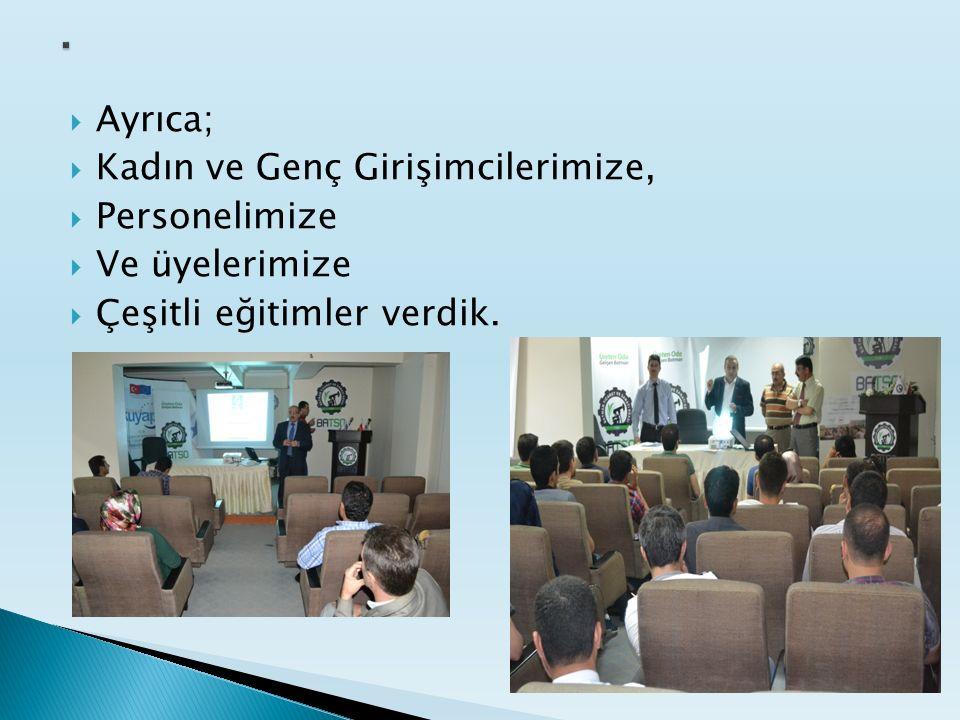  Ayrıca;  Kadın ve Genç Girişimcilerimize,  Personelimize  Ve üyelerimize  Çeşitli eğitimler verdik.