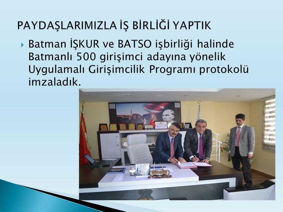  Batman İŞKUR ve BATSO işbirliği halinde Batmanlı 500 girişimci adayına yönelik Uygulamalı Girişimcilik Programı protokolü imzaladık.