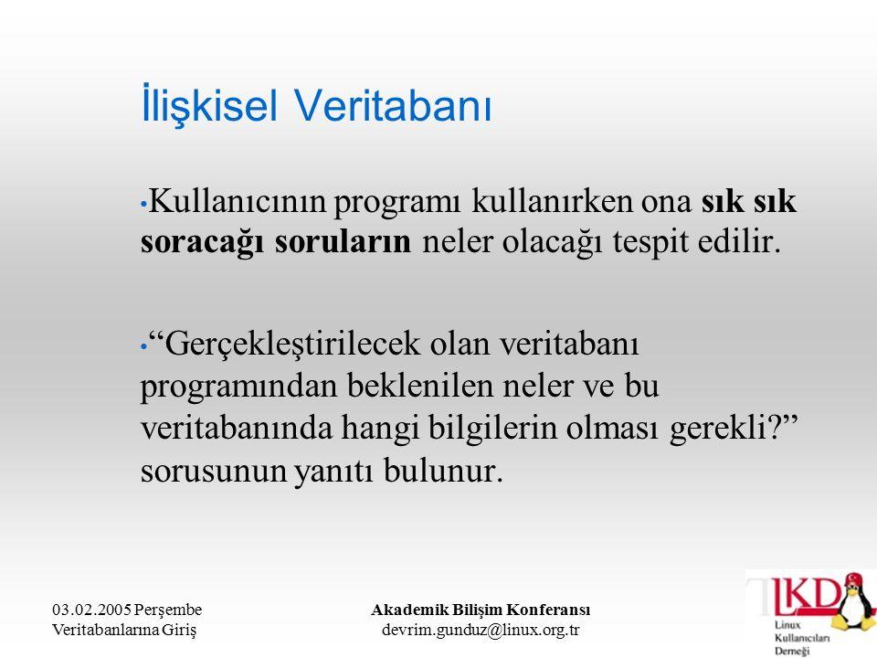 03.02.2005 Perşembe Veritabanlarına Giriş Akademik Bilişim Konferansı devrim.gunduz@linux.org.tr İlişkisel Veritabanı Kullanıcının programı kullanırke