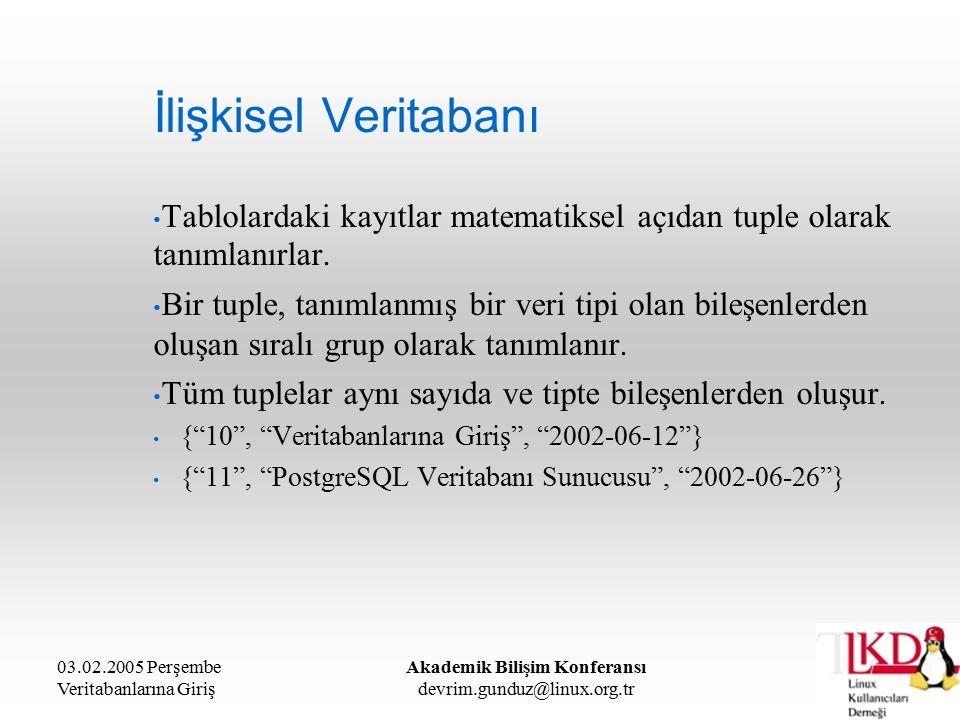 03.02.2005 Perşembe Veritabanlarına Giriş Akademik Bilişim Konferansı devrim.gunduz@linux.org.tr İlişkisel Veritabanı Tablolardaki kayıtlar matematiksel açıdan tuple olarak tanımlanırlar.