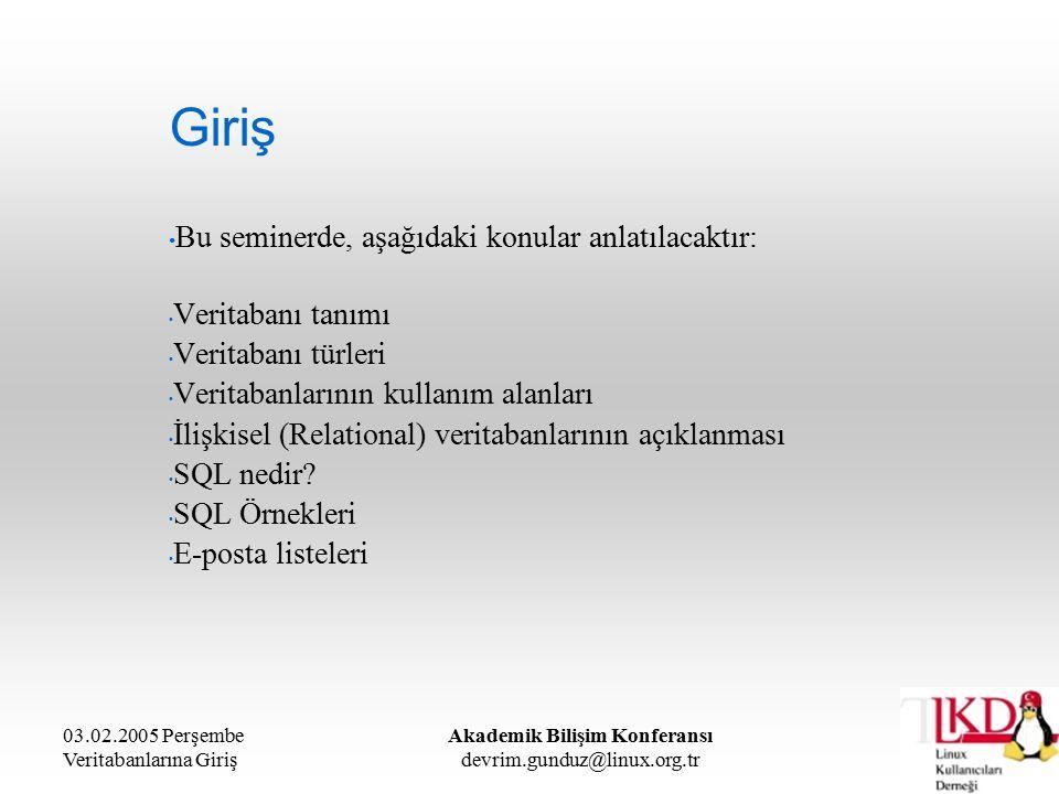 03.02.2005 Perşembe Veritabanlarına Giriş Akademik Bilişim Konferansı devrim.gunduz@linux.org.tr Aritmetiksel İfadeler SUMselect sum(brut) from personel AVGselect avg(net) from personel MAXselect max(brut) from personel MINselect min(brut) from personel COUNTselect count(*) from personel