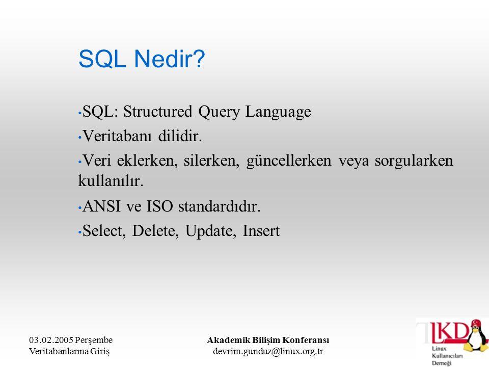 03.02.2005 Perşembe Veritabanlarına Giriş Akademik Bilişim Konferansı devrim.gunduz@linux.org.tr SQL Nedir? SQL: Structured Query Language Veritabanı