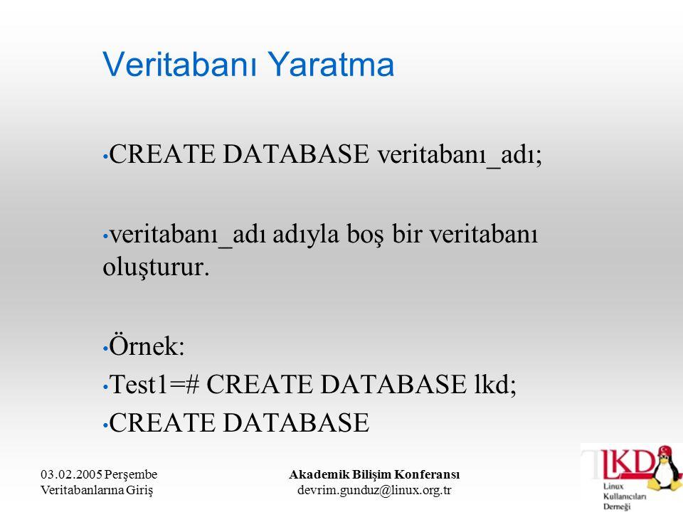 03.02.2005 Perşembe Veritabanlarına Giriş Akademik Bilişim Konferansı devrim.gunduz@linux.org.tr Veritabanı Yaratma CREATE DATABASE veritabanı_adı; veritabanı_adı adıyla boş bir veritabanı oluşturur.