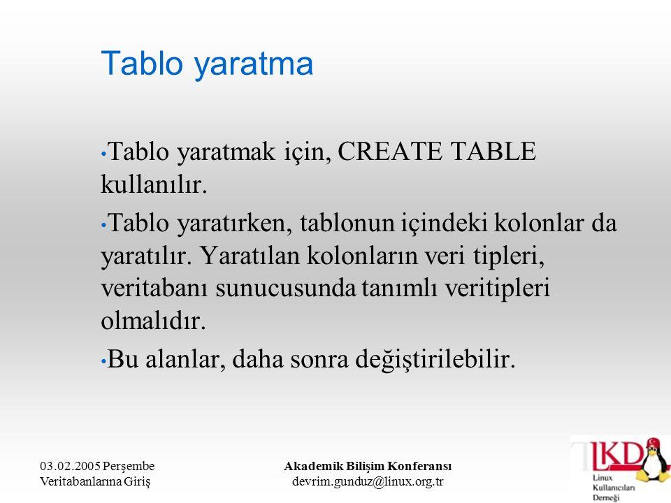 03.02.2005 Perşembe Veritabanlarına Giriş Akademik Bilişim Konferansı devrim.gunduz@linux.org.tr Tablo yaratma Tablo yaratmak için, CREATE TABLE kullanılır.