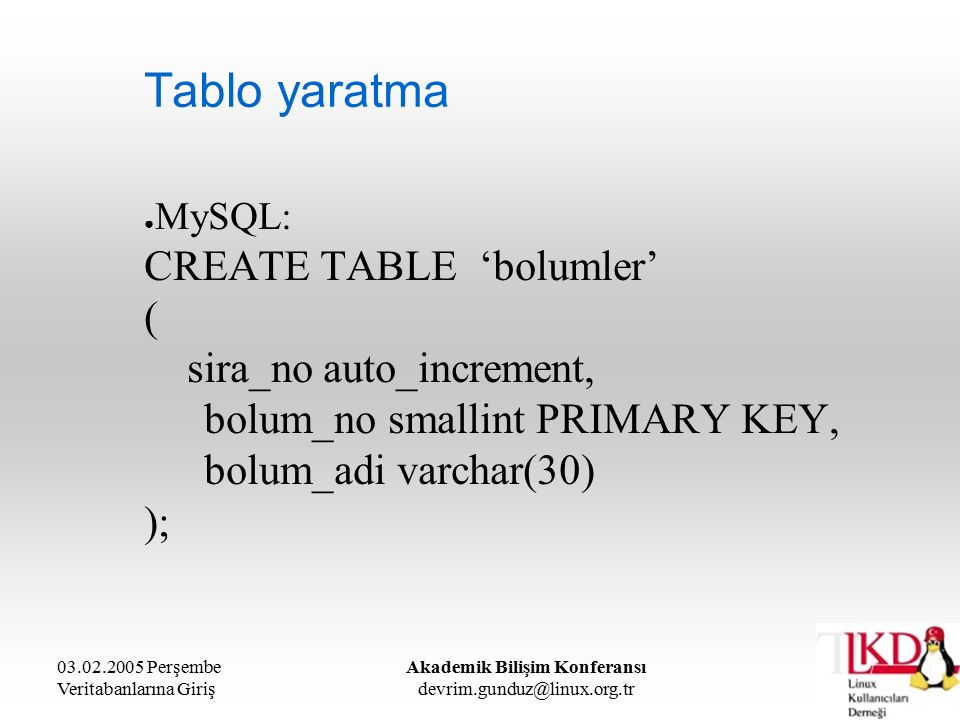 03.02.2005 Perşembe Veritabanlarına Giriş Akademik Bilişim Konferansı devrim.gunduz@linux.org.tr Tablo yaratma ● MySQL: CREATE TABLE 'bolumler' ( sira_no auto_increment, bolum_no smallint PRIMARY KEY, bolum_adi varchar(30) );