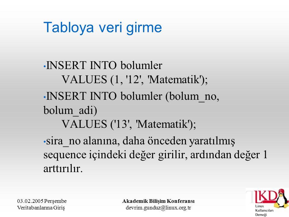 03.02.2005 Perşembe Veritabanlarına Giriş Akademik Bilişim Konferansı devrim.gunduz@linux.org.tr Tabloya veri girme INSERT INTO bolumler VALUES (1, 12 , Matematik ); INSERT INTO bolumler (bolum_no, bolum_adi) VALUES ( 13 , Matematik ); sira_no alanına, daha önceden yaratılmış sequence içindeki değer girilir, ardından değer 1 arttırılır.