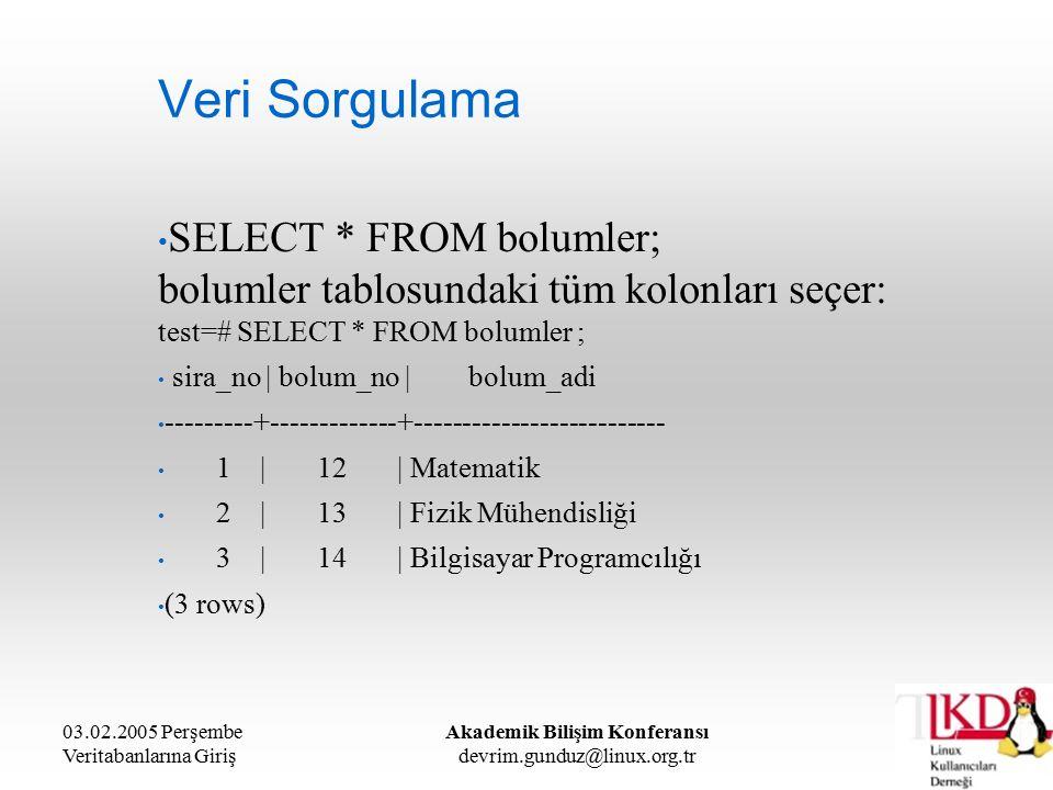 03.02.2005 Perşembe Veritabanlarına Giriş Akademik Bilişim Konferansı devrim.gunduz@linux.org.tr Veri Sorgulama SELECT * FROM bolumler; bolumler tablosundaki tüm kolonları seçer: test=# SELECT * FROM bolumler ; sira_no | bolum_no | bolum_adi ---------+-------------+-------------------------- 1 | 12 | Matematik 2 | 13 | Fizik Mühendisliği 3 | 14 | Bilgisayar Programcılığı (3 rows)